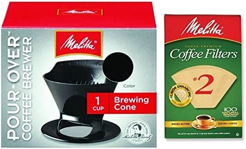 Melitta Pour Over Coffee Cone Brewer 2 Filter Natural Brown Combo Set, Black