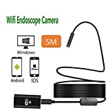Wireless inspection camera, AXELECT WiFi Borescope Inspection Camera IP68 Waterproof Snake Camera with 8 Adjustable LED 5M Cable for Samsung iPhone MAC Laptop Windows Android