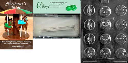 Cybrtrayd Bow and Arrow Hunter Mints Chocolate Mold with Chocolatier's Bundle, Includes 25 Cello Bags, 25 Silver Twist Ties and Chocolatier's Guide (Bow Tie Mint Molds)