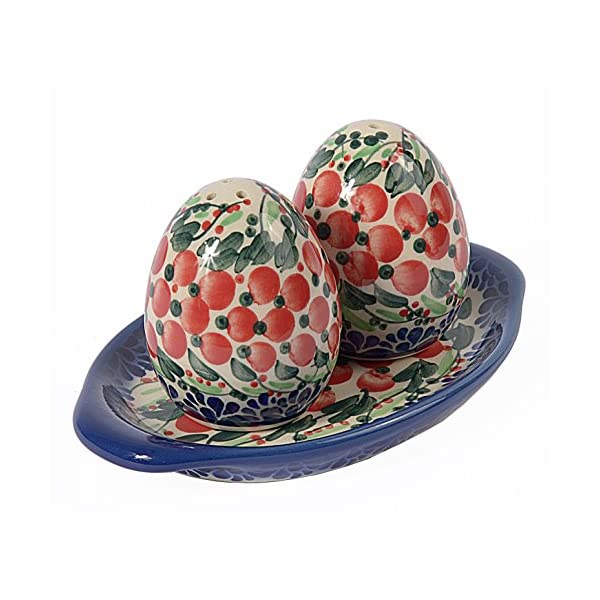 Traditional Polish Pottery, Egg-Shaped Handcrafted Ceramic Salt & Pepper Shakers with Tray (Set of 2), Height 7cm, Boleslawiec Style Pattern, P.401.Cranberry