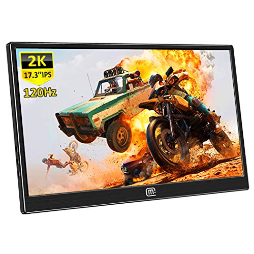 Eleduino 17.3 Inch Portable Gaming Monitor,2k Resolution 120Hz,5 Ms Anti-Glare TN Panel High Brightness, Eye-Care,with HDR FreeSync, Type-C, HDMI Built-in Speakers