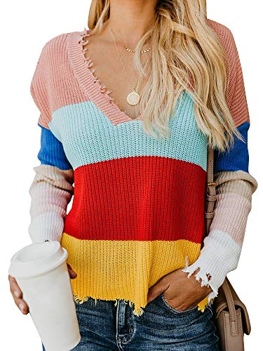 (CNJFJ Womens V Neck Ripped Ugly Sweater Color Block Knitted Crop Top Backless Pullover Jumper Red)