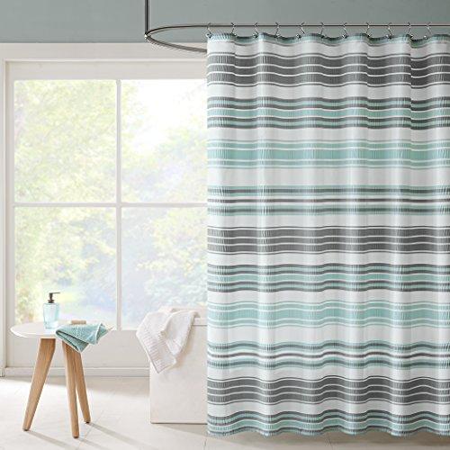 Intelligent Design ID70-803 Ana Puckering Stripe Shower Curtain 72x72 Aqua