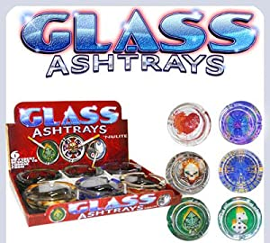 6 X GLOW IN THE DARK GLASS LIMITED EDITION CIGARETTE ASHTRAY