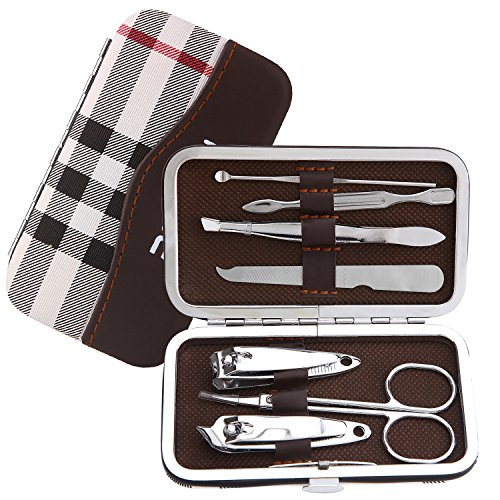 Romiky Stainless Steel Nail Clipper Set Professional Nail Cutter Grooming Kit 7 in 1 Manicure Beauty Tool Pack Pedicure Kit with Leather Case (Mixed color) by Romiky
