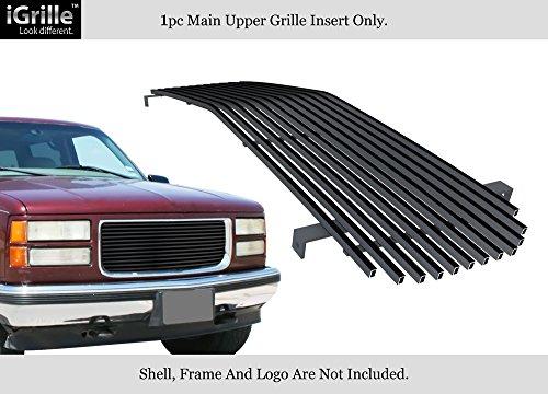 (APS Fits 1994-1999 GMC Suburban/Yukon/CK Pickup Stainless Black Billet Grille Insert 8x6 Wide #N19-J21058G)