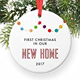 New Home Ornament 2017, Gift for New Homeowners Ceramic Xmas Ornament Present for Housewarming Party First House Colorful Garland Christmas Keepsake 3