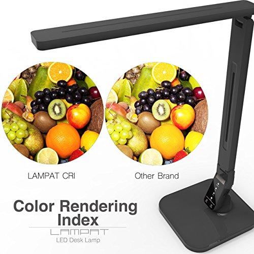 Lámpara de escritorio LED Lampat, Lámpara de mesa LED regulable, Negro, 4 modos de iluminación, Atenuador de 5 niveles, Panel de control sensible al tacto, Temporizador automático de 1 hora, Puerto de carga USB de 5V /2A)