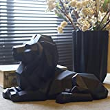 Nordic style lucky lion geometric animal ornaments crafts living room console cabinet creative home soft decorations AP5091138 (Color : Black)