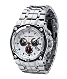 CALABRIA - RAFFINATO - White & Black Dial Chronograph Men's Watch with Carbon Fiber Bezel and SS Band