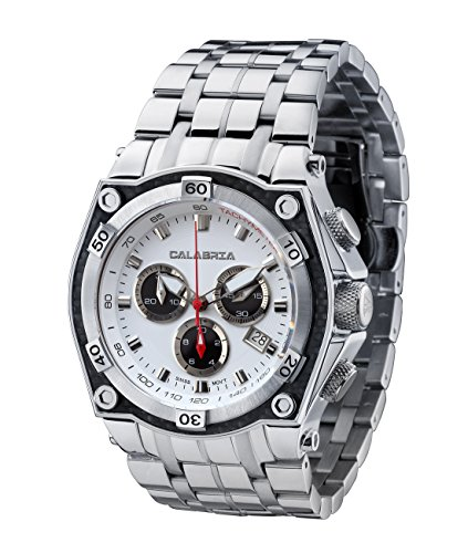 CALABRIA - RAFFINATO - White & Black Dial Chronograph Men's Watch with Carbon Fiber Bezel and SS - Fiber Carbon Bezel