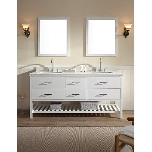 "Ariel G073D-WHT Shakespeare 73"" Double Sink Vanity Set In White With 1.5"" White Quartz Countertop, Backsplash, Mirror, 4 Soft Closing Drawers new"