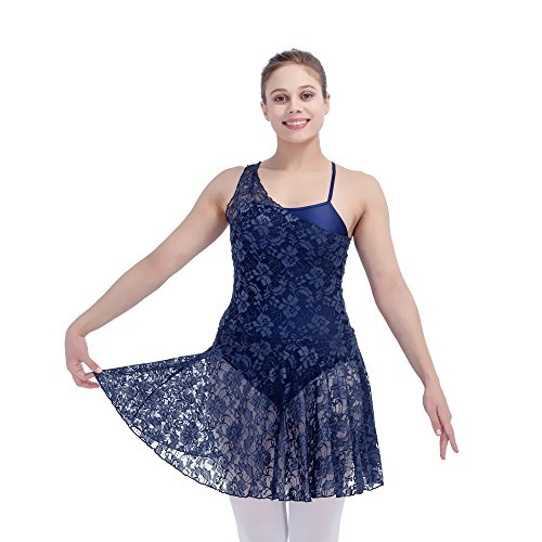 [Women Contemporary Lyrical Dance Dress Lace Overlay Nylon Underskirts Medium Navy Blue] (Dance Costumes For Adults)