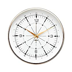 "Luxury Modern 12"" Silent Non-Ticking Wall Clock with Rose Gold Frame (Aviator Compass White)"