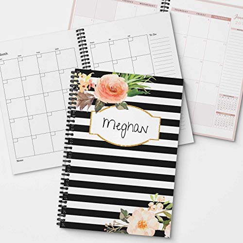 Classic Floral Personalized Monthly and Weekly Planner and Organizer, 1 full year, DATED or UNDATED OPTION, Soft Cover, lay flat wire-o spiral binding, Available in 2 sizes. -