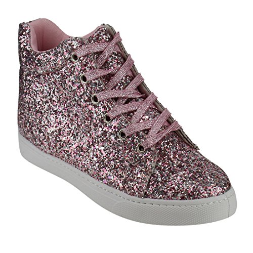 Ankle Up Sneakers FP65 High Fashion Lace Sparkling FOREVER Pink Glitter Womens gxnf1