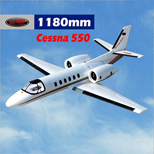 DYNAM RC Airplane Cessna 550 Turbo Jet White Twin 64mm EDF - PNP - Rc Model Jet Engines