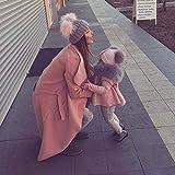 Wildeal 2pz Set mamma bambino berretto invernale caldo doppio in pelliccia palla donne ragazze crochet berretto con pompon intrecciato cappellini kit Pink