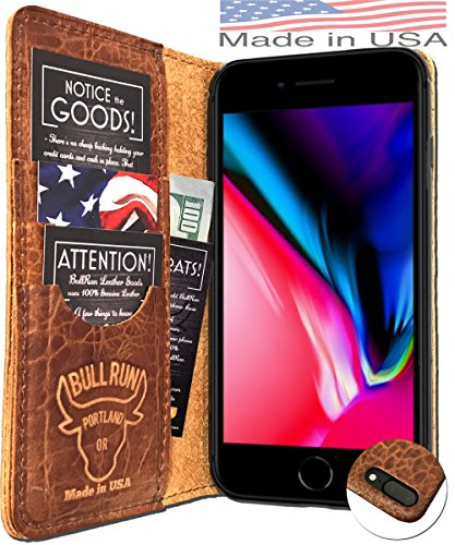 (MADE in USA iPhone 8 Plus Folio Book Case | Genuine American Distressed Leather Wallet Book Case iPhone 7 Plus| 3 Credit Card Slots, ID/Bill Compartment, Best Screen Protection (Brown))