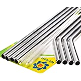 "Kichwit Extra Long Stainless Steel Straws Set of 8, Reusable Wide Straws for Smoothies, 10.5"" Long, 5/16"" Wide, Metal Drinking Straws for 30 oz Tumblers, 2 Free Cleaning Brushes Included"