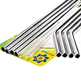 Kichwit Extra Long Stainless Steel Straws Set of 8, Reusable Wide Straws for Smoothies, 10.5' Long, 5/16' Wide, Metal Drinking Straws, 2 Cleaning Brushes Included