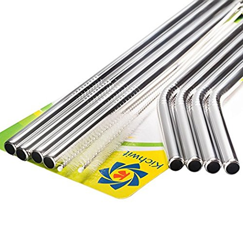 extra long stainless steel straws set of