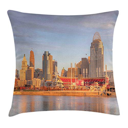 Ambesonne Cincinnati Throw Pillow Cushion Cover, Alleyway Landline Buildings Near The Stadium Waterfront Orange Grey Hues City, Decorative Square Accent Pillow Case, 40 X 40 Inches, Multicolor
