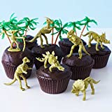 (24) Dinosaur Bones Cupcake Toppers Kit - (12) 3 1/2'' Dinosaur Skeletons Fossils Assorted T-Rex, Triceratops, Stegosaurus (12) 3'' Palm Trees (30) Brown Grease Proof Cupcake Liners