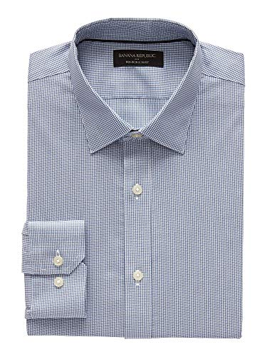 - Banana Reublic Mens Slim-Fit Non-Iron Yarn Dye Shirt, Plaid Blue (L)
