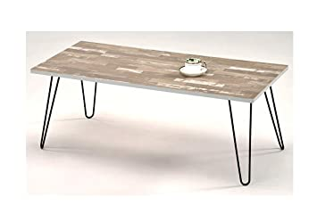Table Basse Pied Metal.Meubletmoi Table Basse Rectangulaire 120 Cm Pied Metal Vintage Plateau Mdf Style Industriel Moderne Fil