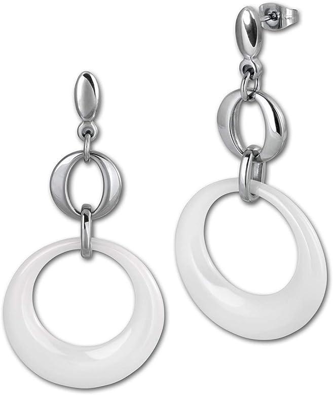 Amello joyas en acero inoxidable – Amello pendientes redondos de cerámica blanco – Pendientes de acero inoxidable para mujeres – ESOX13 W