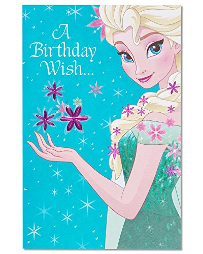 American Greetings Frozen Queen Elsa Birthday Greeting Card with Glitter and Foil