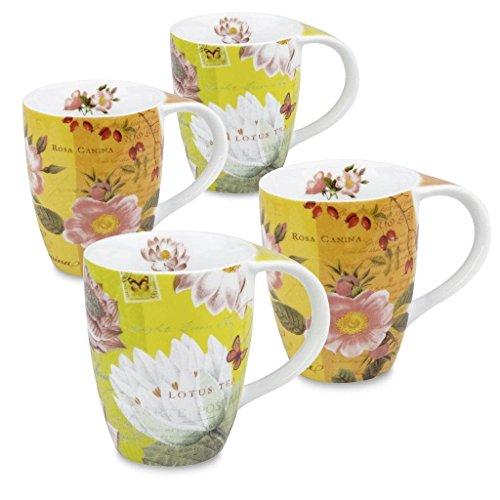 Konitz Lotus and Fruit Tea Flower Mugs, Set of 4