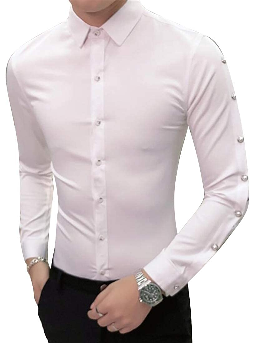 Fubotevic Men Solid Color Stylist Work Hollow Out Slim Nightclub Long Sleeve Button Down Dress Work Shirt