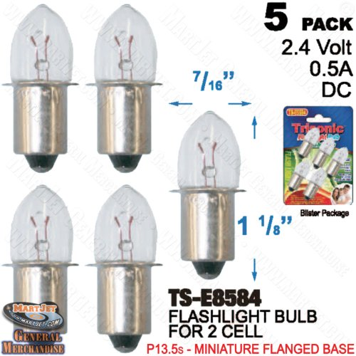 Trisonic Flash Light Bulb - Pack of 5 Clear. Mini Mayonet - Bayonet Miniature 1/2 Base G3