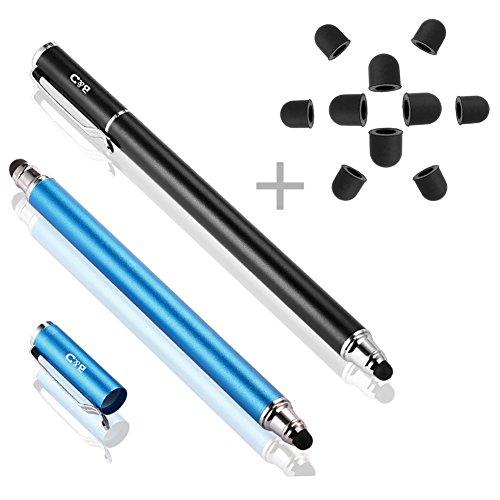 B & D 2 Stück Eingabestift Stylus Touch Pen mit 10 x Ersatzspitzen (Schwarz / Blau)