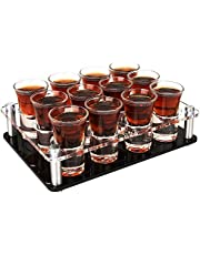 1 oz Shot Glasses with Holder, D&Z Heavy Base Shot Glass Set of 12, Easy Carry without Spilling, Cute Drinking Cup for Whiskey/Vodka/Tequila/Cocktail, Ideal Birthday Gift for Boyfriend/Father/Husband