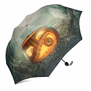 InterestPrint Pumpkin in Dark Halloween Forest Foldable Portable Outdoor Travel Compact Waterproof Umbrella