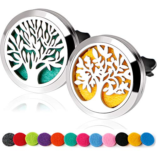 RoyAroma 2PCS Essential Oil Car Diffuser Vent Clip Aromatherapy Stainless Steel Locket with 12 Felt Pads