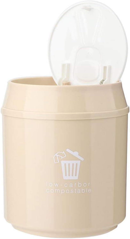 YAOLUU Mini Trash can Plastic Small Waste Bin Cute Mini Trash Can Desktop Trash Basket Table Home Office Trash Dustbin Sundries Barrel Box with Lid Desktop Trash can (Color : B)