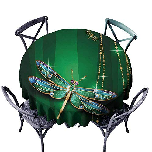 HCCJLCKS Fabric Dust-Proof Table Cover Dragonfly Elegance Vivid Figures in Gemstone Crystal Diamond Featured Artsy Effects Washable Tablecloth D67 Gold Hunter Green