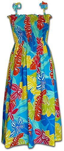 Hawaiian Tube Sun Dress - Turquoise W/ Rainbow (Turquoise Tube Dress)