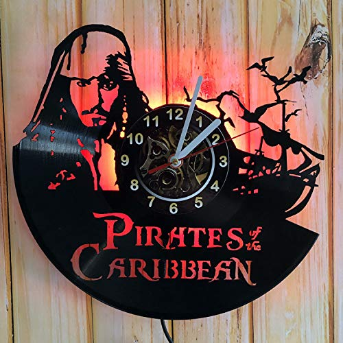 CHESNOshop Pirates of The Caribbean - LED Backlight Vinyl Wall Clock Night Atmosphere Light Lamp Creative Classic Cool Living Room Interior Decor Led Time Clock with Light (Red) -