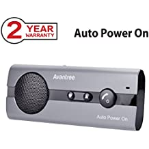 Avantree AUTO POWER ON Hands Free Bluetooth Visor Car Kit with Motion Sensor, Support GPS, Music, Wireless Handsfree Speakerphone In Car for iphone, Samsung Smartphones [2 Year Warranty]