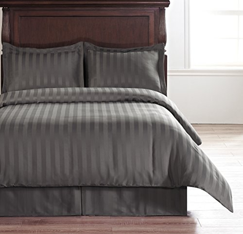 DUVET COVER Set CHARCOAL GREY FULL Size - Hotel Collection 4-Piece Reversible Damask Stipe