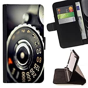 DEVIL CASE - FOR Samsung Galaxy S5 V SM-G900 - Vintage Retro Camera Macro - Style PU Leather Case Wallet Flip Stand Flap Closure Cover