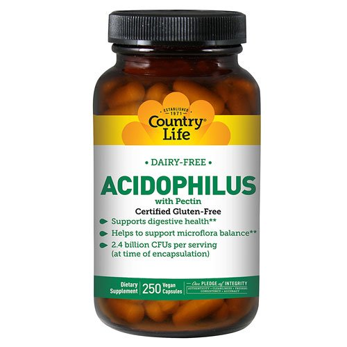 Country Life Acidophilus with Pectin -- 2.4 billion CFU - 250 Vegetarian Capsules - 3PC by Country Life