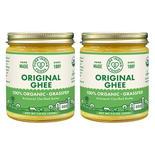 Grassfed Organic Original Ghee - by Pure Indian Foods, 7.8 oz, Pasture Raised, Gluten-Free, Non-GMO, Paleo, Keto-Friendly (Pack of 2) (Indian Rice Grass)
