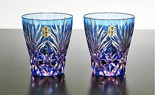 Edo Kiriko glass Japanese Sake cup Kenbisi star motifs set of 2