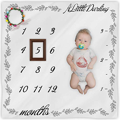 Baby Monthly Milestone Blanket for Girls Or Boys, Baby Shower Blankets Newborn Pregnant Gift, Baby Photo Prop, 100% Organic Cotton